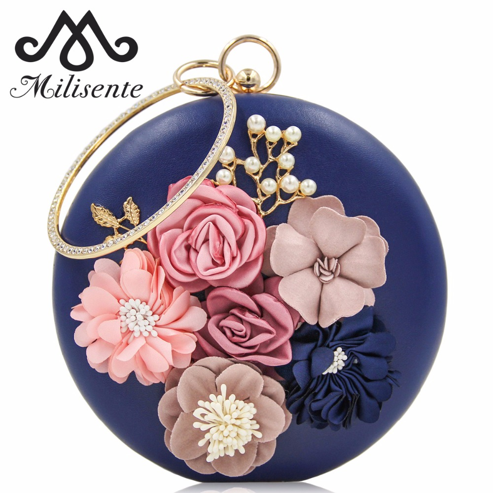 Milisente 2018 New Women Evening Clutches Bags Ladies Flower Wedding Bag Day Purse Female Party Clutch