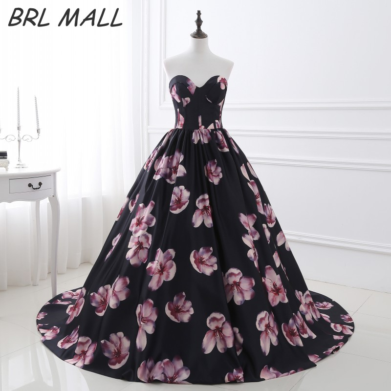 Fancy Sweetheart Backless Printing Floral Prom Dress 2018 Ball Gown