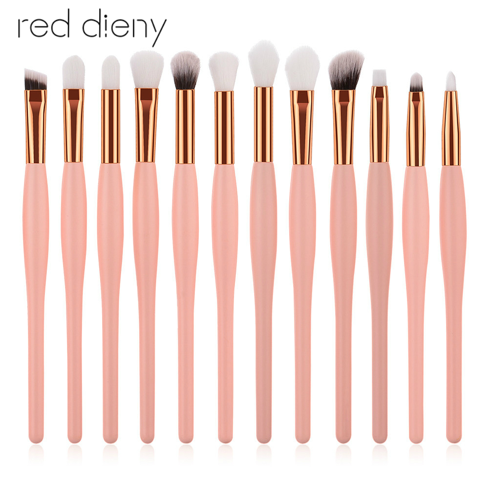 12 Pcs/Set Pink Gold Handle Soft Synthetic Hair Professional Lady Beauty Makeup Brushes Eyeshadow Lip Brow Blending Tools Kit