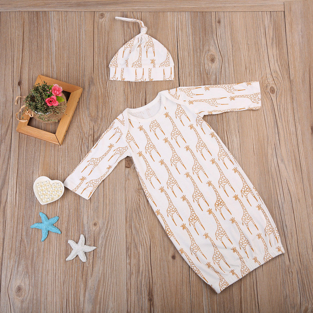 Super Cute Babies Deer Clothing Newborn Baby Girl Boys Long Sleeve Romper Sleeping Bag Pajamas Clothes