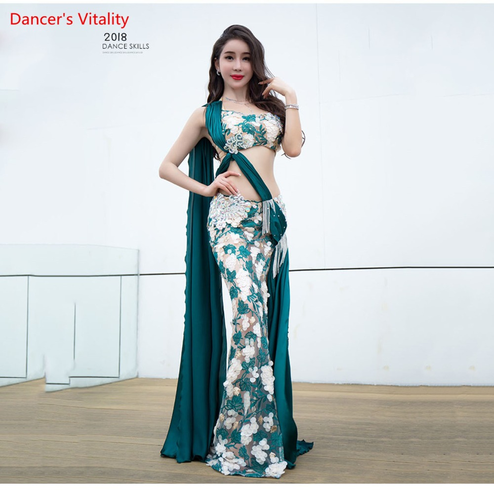 Custom Made Belly Dance Show Costume Women 2018 New Silk Beads Competition Luxury Bra+Long Tail Skirt Suit 2pcs