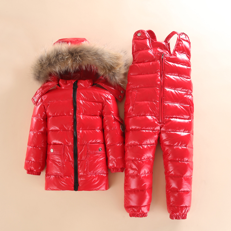 Vinter Barn Down Suit Long Zipper Solid White Duck Down Boys Girls Down Jackets Dykkjakke + Bukser Two Piece Clothes