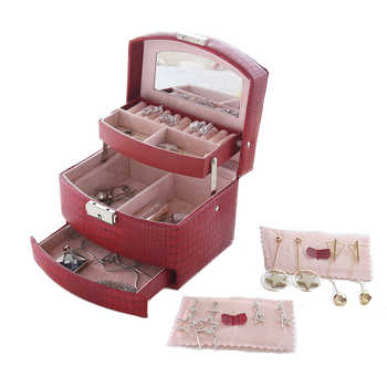 Lizard Striped Automatic Jewelry Box with Lock Exquisite Three Layer Leather Earrings Storage Casket Portable Fashion Gift Box