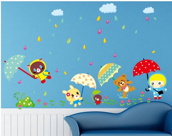 cute animal designer home decoration wall art stickers for children ...