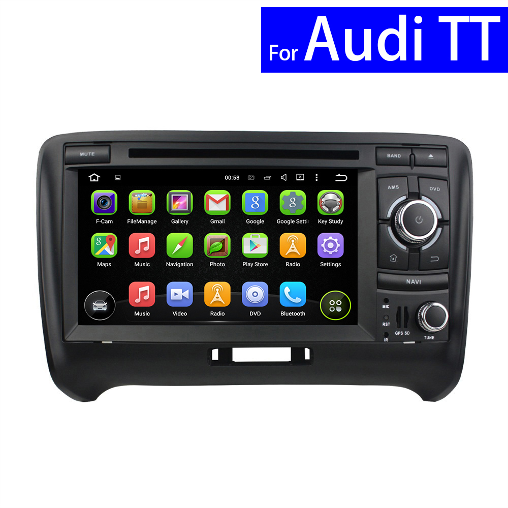 2 Din Android Car Radio for Audi TT DVD Player with GPS Navigation Bluetooth TV CD 3G WIFI USB Touch Screen Car Audio MAP Card