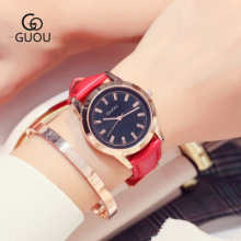 GUOU New Arrivals 2018 Top Luxury Ladies Watches Classic Wild Women Quartz Watch Leather Clock saat relogio feminino reloj mujer watches womage women fashion leather strap quartz watch ladies watches clock hour montre femme reloj mujer relogio feminino saat
