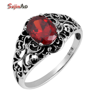 Szjinao Wholesale Fashion 925 Silver Ring Antique Jewelry Replica Victoria 1.1 ct Red Ruby Sterling Silver Ring Women