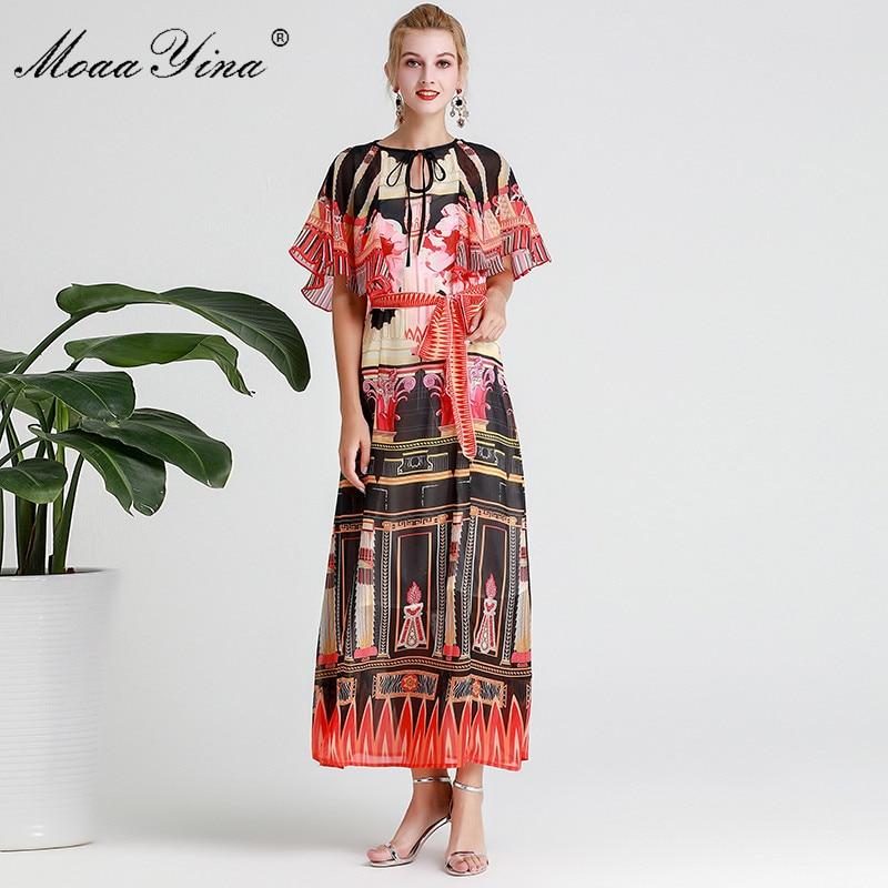 MoaaYina Fashion Designer Runway dress Spring Summer Women Dress  Vintage Print Elegant Lace Up Maxi DressesDresses