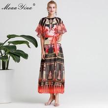 MoaaYina moda diseñador pasarela vestido Primavera Verano mujeres vestido Vintage estampado elegante encaje Up Maxi vestidos