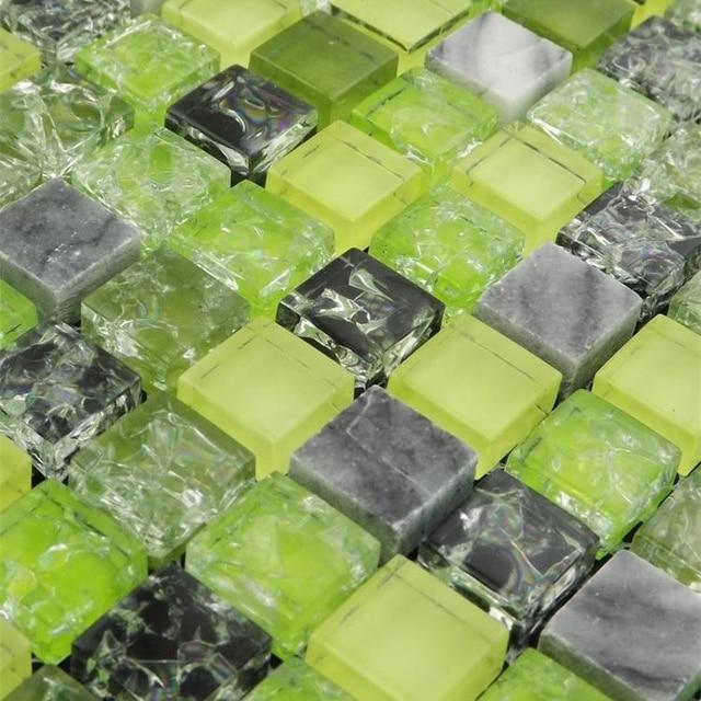 Couleur verte verre mélangé gris pierre mosaïque carreaux pour ...