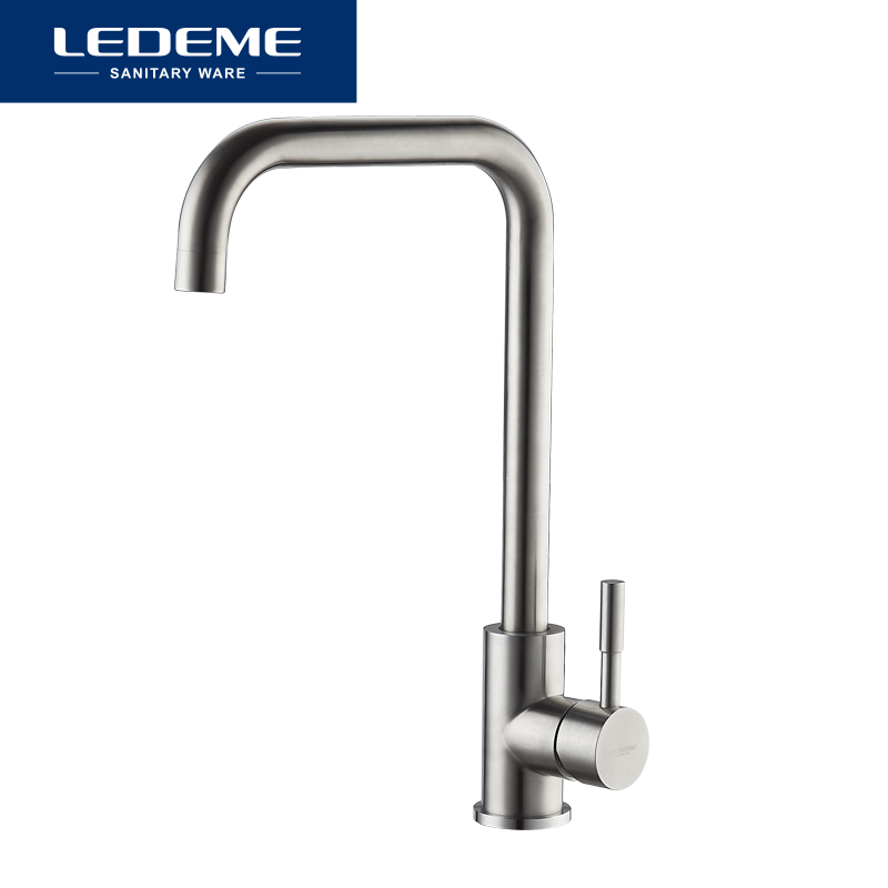 Image 5 - LEDEME 360 Single Handle Single Hole Kitchen Faucet Mixers Sink Tap Wall Kitchen Faucet Modern Hot and Cold Water L4998 4-in Kitchen Faucets from Home Improvement