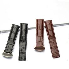 20mm 22mm שחור חום עור פרה אמיתי עור רצועת עבור קררה AQUARACER מונקו גברים של להקת שעון צמיד