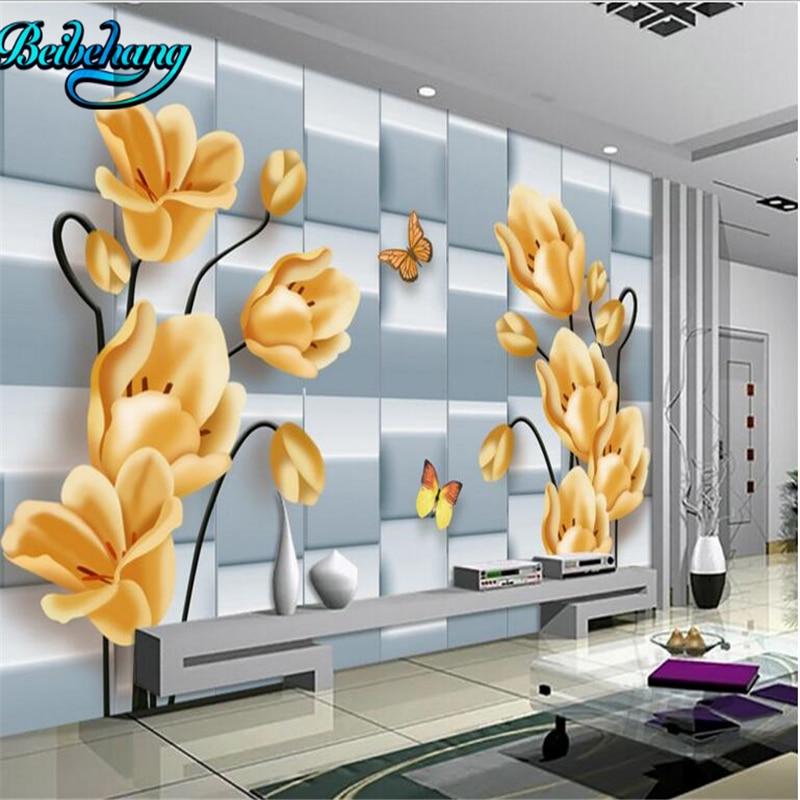 100% Waar Beibehang Bloemen High-definition Zachte Pakket 3d Lounge Sofa Tv Achtergrond Muur Aangepaste Behang Muurschilderingen