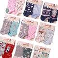 Cute padrão animal dos desenhos animados meias de algodão para as mulheres spring summer marca meias barco feminino meias moda 2 pares/lote
