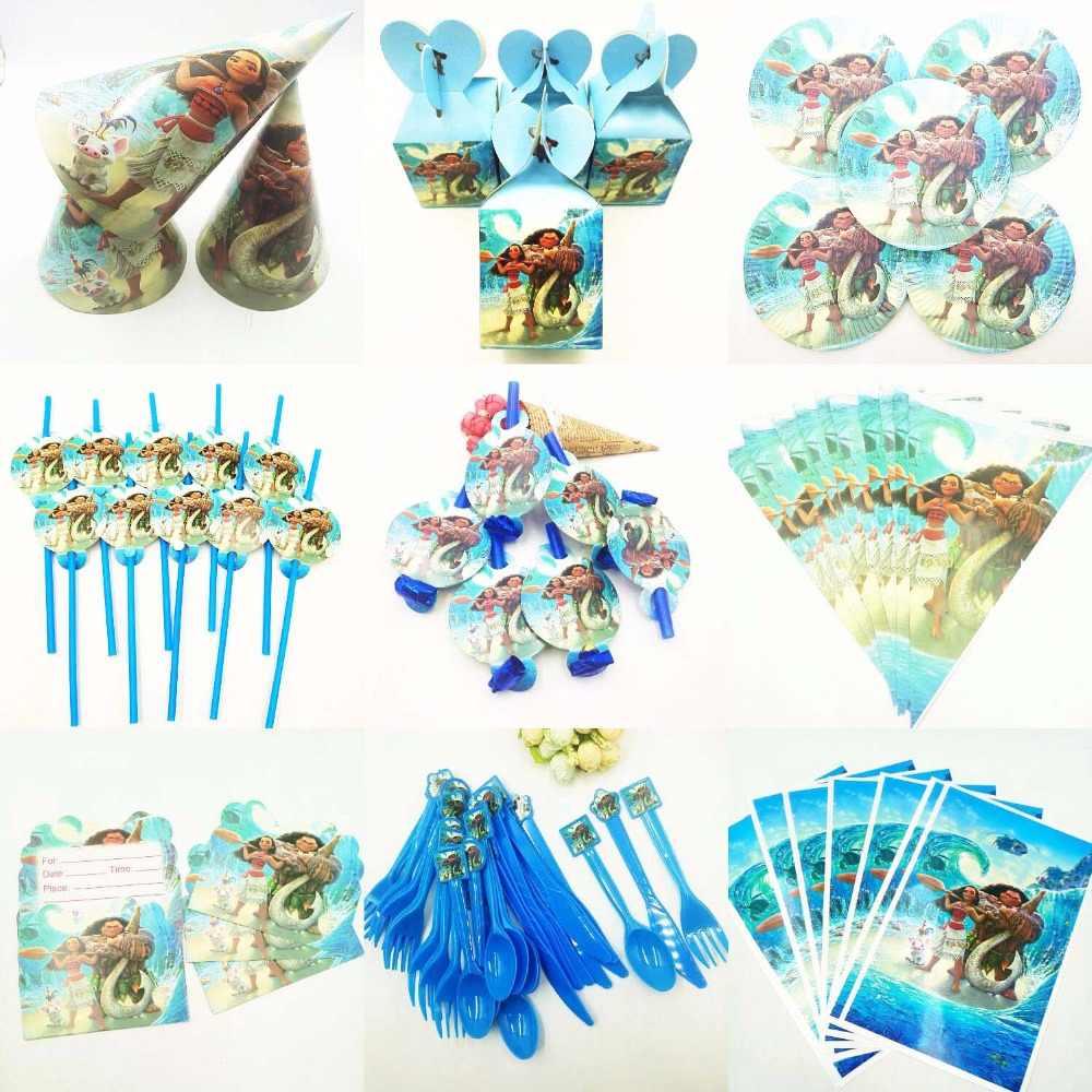 Moana moana Placas de aniversário decorações do partido crianças Copo Toalha de Mesa fontes do partido do chuveiro do bebê, favores do presente conjunto de talheres