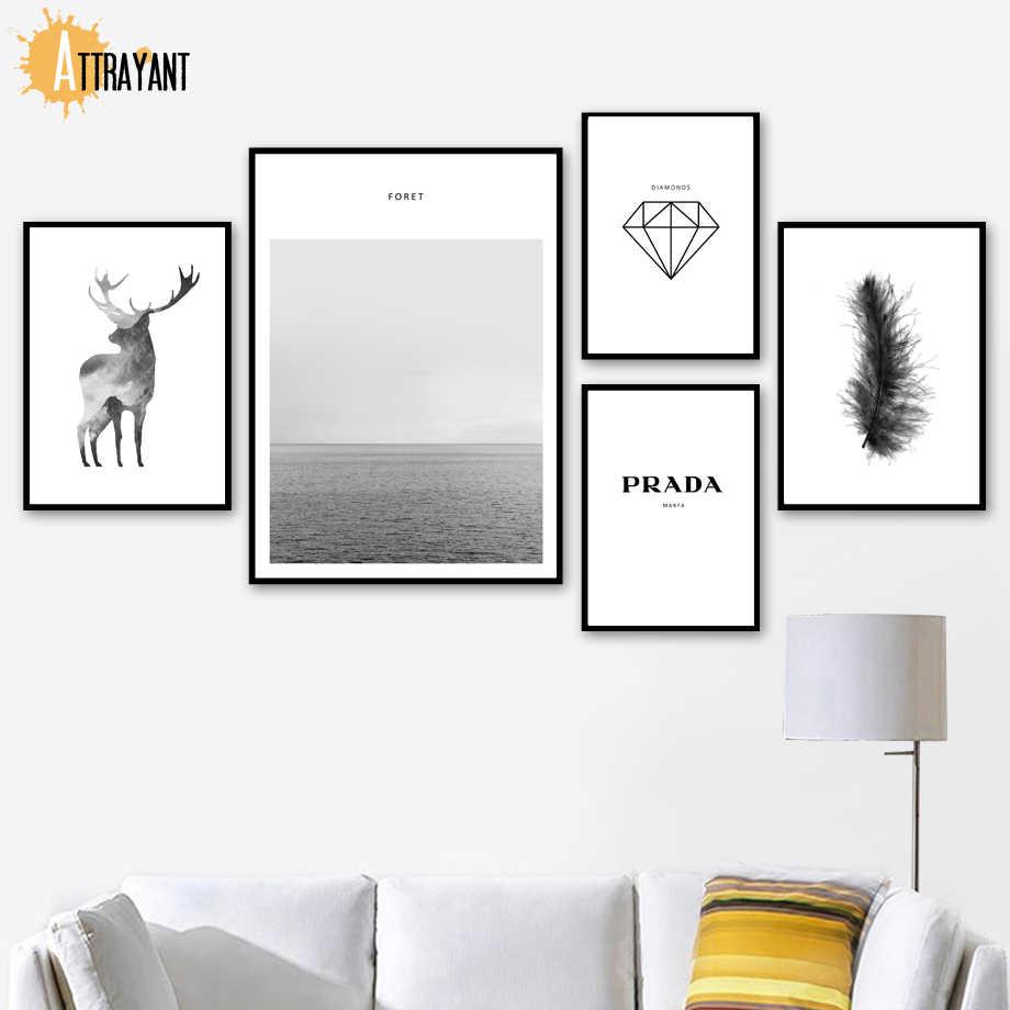 Toile murale de cerf mer diamant Prada   Peinture nordique, affiches et imprimés d'animaux, photos murales, pour décor de salon