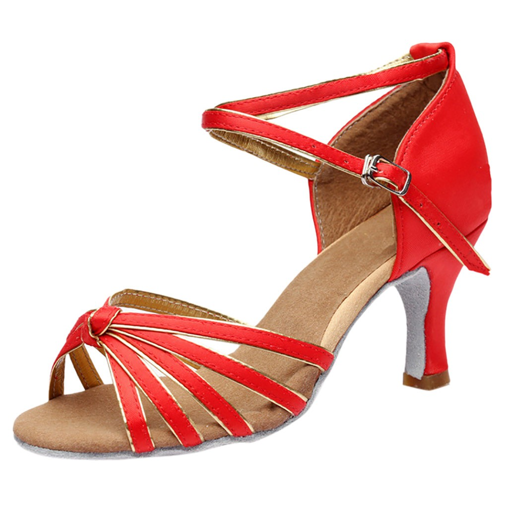 Talons Or Mujer Noir Chaussures Tango Med Rouge D'été Sandales Fille QdoEeBWrCx