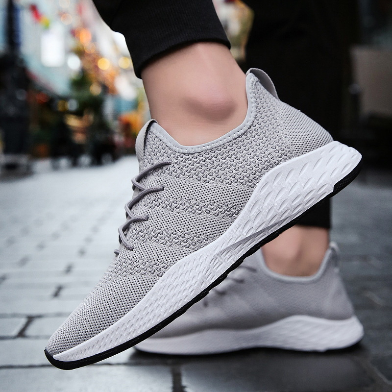 Summer men air breathable sport shoes flywire weaving lightweight men running shoes for men wear resistant anti-slip sneakers