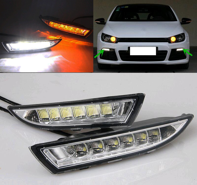 For Volkswagen Scirocco 2013 2014 2015 Turn Yellow Signal Style Relay Waterproof 12V Car LED DRL Daytime Running Light Daylight