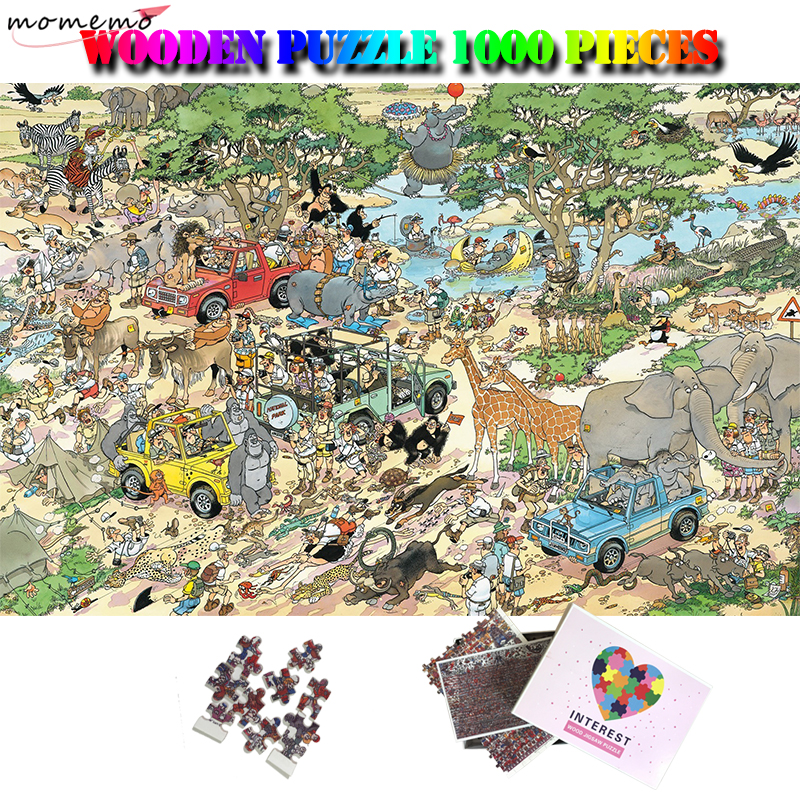 MOMEMO Zoological Garden Cartoon Puzzle 1000 Pieces 50*75cm Giant Jigsaw Puzzle Adults Wooden Puzzle 1000 Kids Toys Home Decor