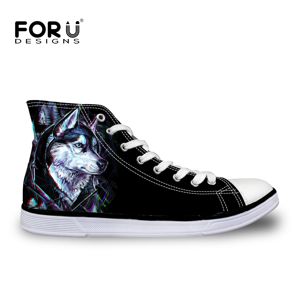 FORUDESIGNS Casual Mäns Skor Fashion 3D Animal Vulcanized Skor, Cool 3D Tiger Dog Husky Classic Män High Top Canvas Flat Shoes