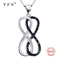 GNX9883 100 Real 925 Sterling Silver Infinity Love Necklace Romantic White Black Crystal Pendants Necklaces Fashion