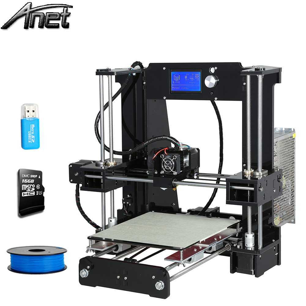 3d-printer Large printing Size 220*220*250 Anet A6 Precision Reprap Prusa i3 3D Printer kit DIY with 10m Filament 8GB Card