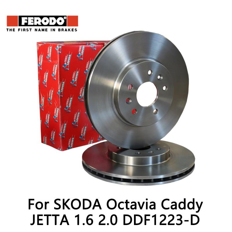2pcs/lot Ferodo Car Front Brake Disc For SKODA Octavia 1.6 2.0 Caddy 1.6 2.0 JETTA 1.6 2.0 DDF1223-D 2pcs lot ferodo car front brake disc for volkswagen polo 1 4 1 6 lavida bora golf 4 ddf929 d