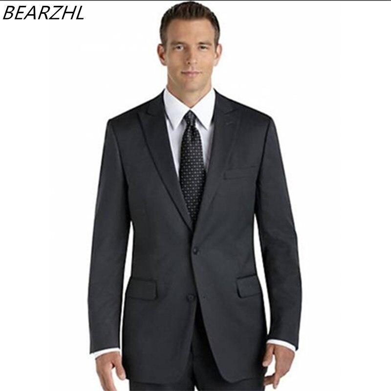 Online Shop wedding tuxedo dark gray suits men business suit for ...