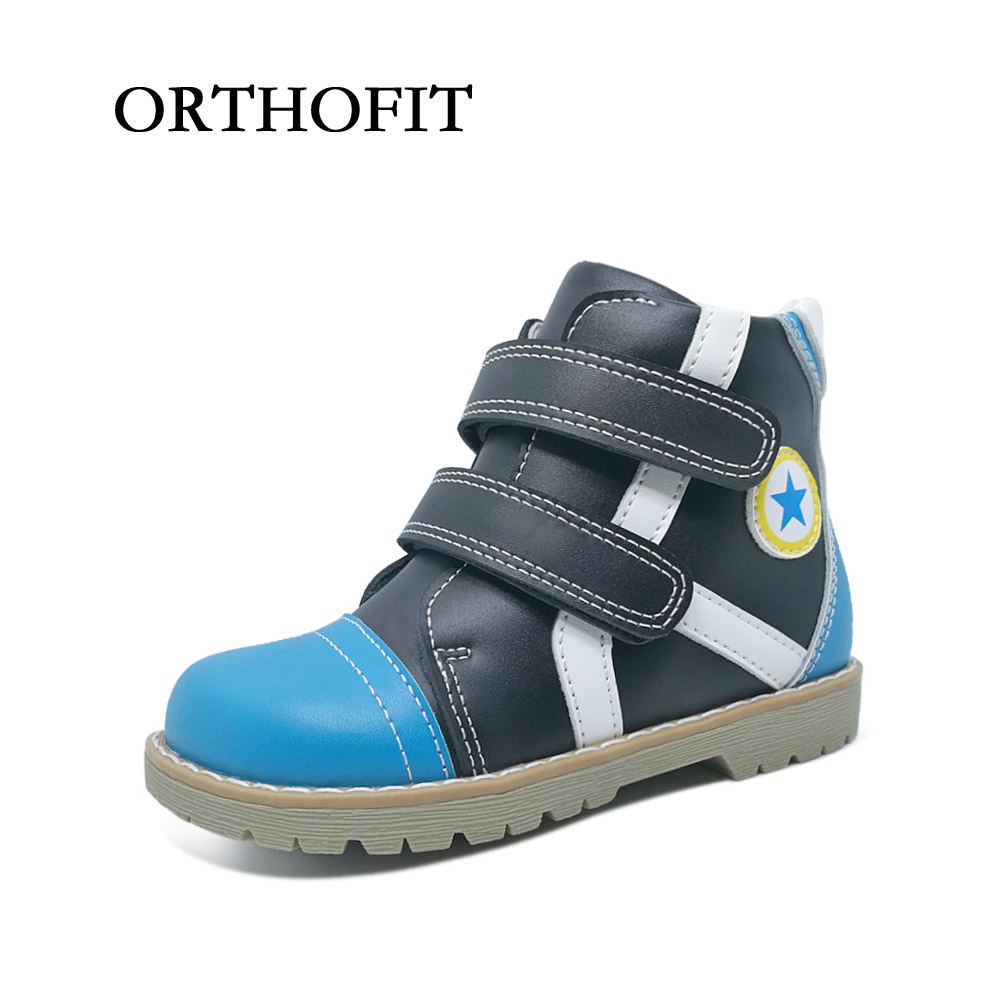 New fashion russian style genuine leather kids boots shoes with felt wool orthopedic boys black blue shoes for spring autumn
