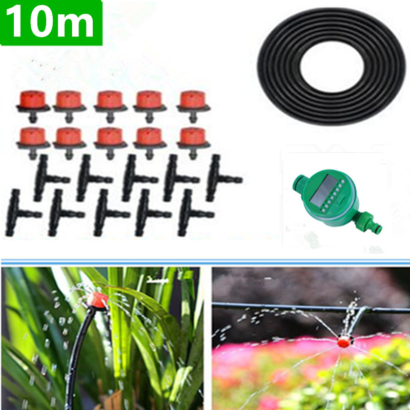 10m Micro Drip Irrigation Kit Plants Garden Watering System Automatic Garden Hose Kits Connector Adjustable Drip