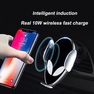 Image 1 - 10 Вт Qi автомобильное беспроводное зарядное устройство для Xiaomi MIX 2S Mi 9 iPhone X Samsung S9 быстрая беспроволочная зарядка Автомобильный Автоматический держатель для телефона