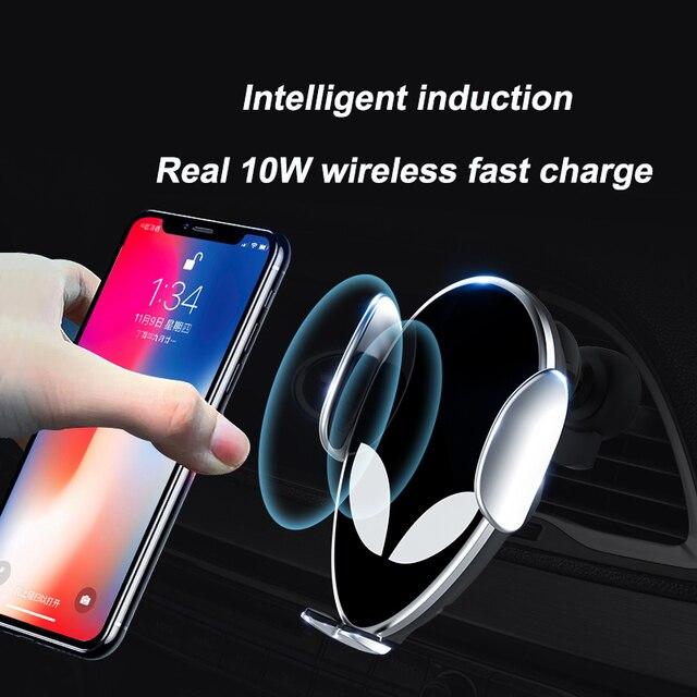 10W Qi cargador inalámbrico de coche para Xiaomi mi X 2S mi 9 iPhone X Samsung S9 carga rápida sin cables coche sujeción automática soporte de teléfono