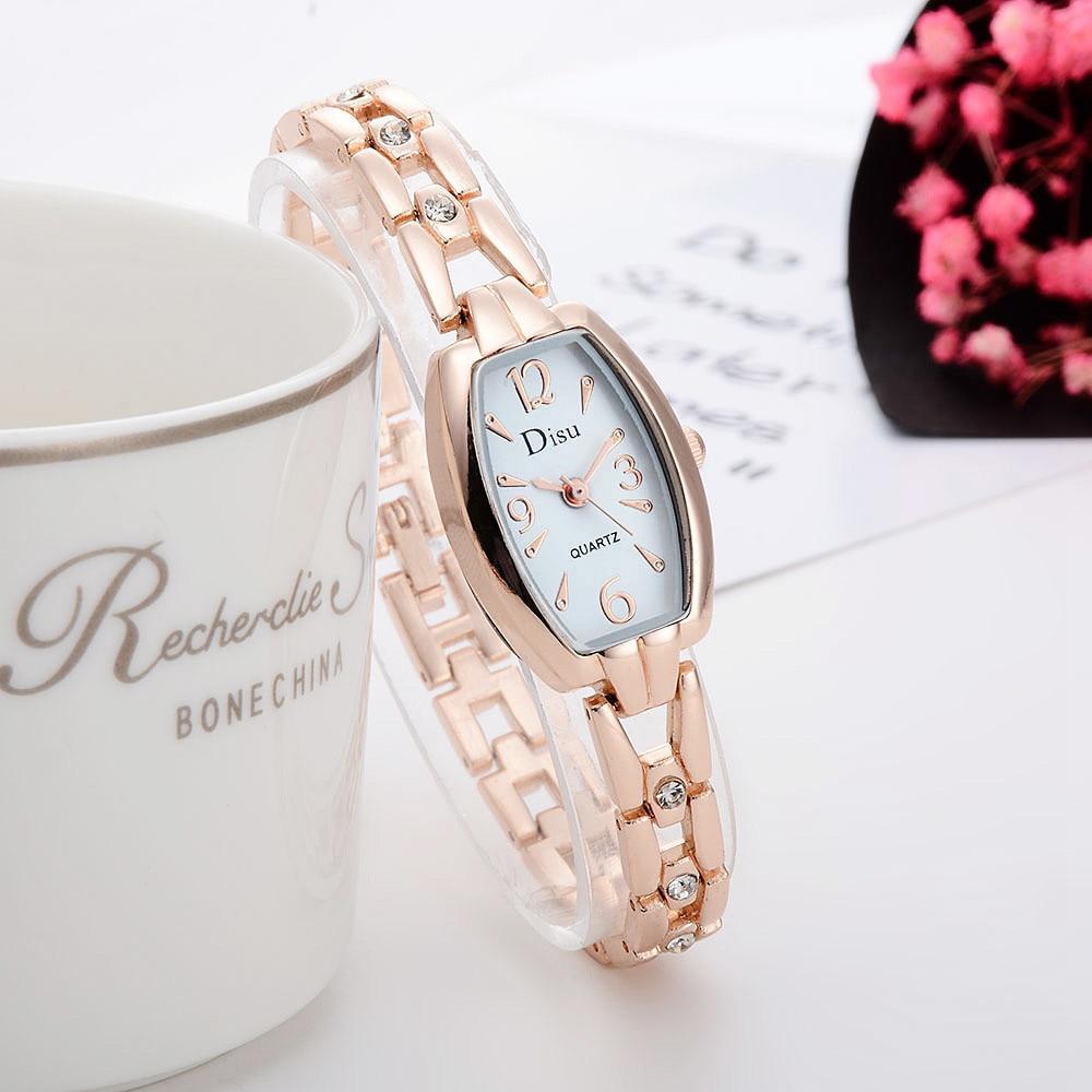 DISU Hot Sale Rose Gold Bracelet Watch Women's Watch Elegant Rhinestone Dress Ladies Quartz WristWatch Relojes Para Mujer #A