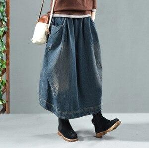 Image 4 - Autumn Winter Skirt Retro Women Loose Denim Skirt New Elastic Waist pocket Bleached Casual Female 2018 Denim Skirt