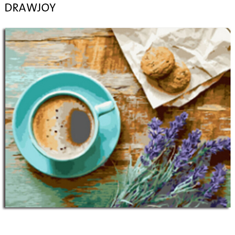 DRAWJOY Foto Incorniciata Pittura di DIY Dai Numeri Pittura A Olio Di Caffè Pittura e Calligrafia Home Decor 40*50 cm GX21514