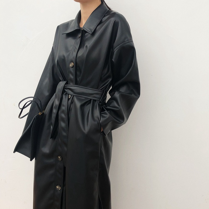 WSYORE Cool PU   Leather   Long Jacket 2019 New Autumn Women Loose Belt PU   Leather   Windbreaker Trench Coat Slim Autumn Jacket NS939a