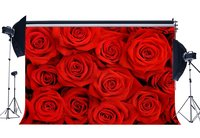 Photography Backdrops Valentine's Day Backdrop Blooming Fresh Floral Red Rose Flowers Wedding Background