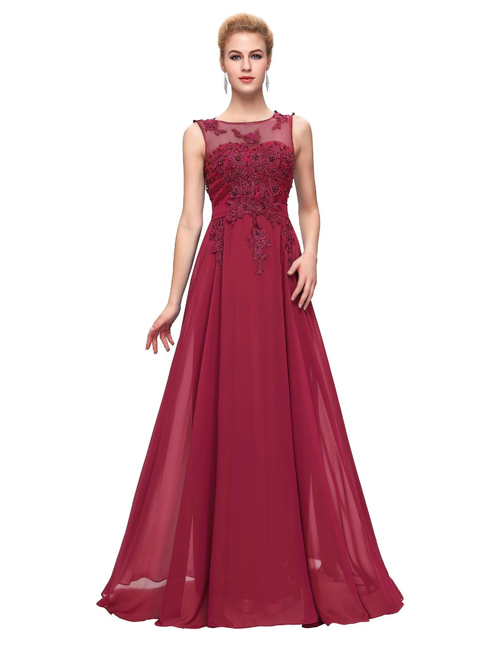 Grace Karin Elegant Long Evening Dresses 2016 Chiffon Pink Purple Red Royal Blue Black Formal Evening Dress Gown Abendkleider 54