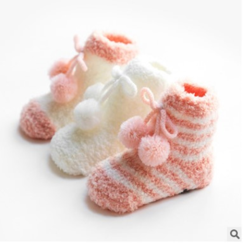 WISLEO BABY Thick-plus Warmer Winter Coral fleece Baby Girls Socks Newborn Soft Cute Cartoon Baby Socks S(0-12M)andM(13-36M)