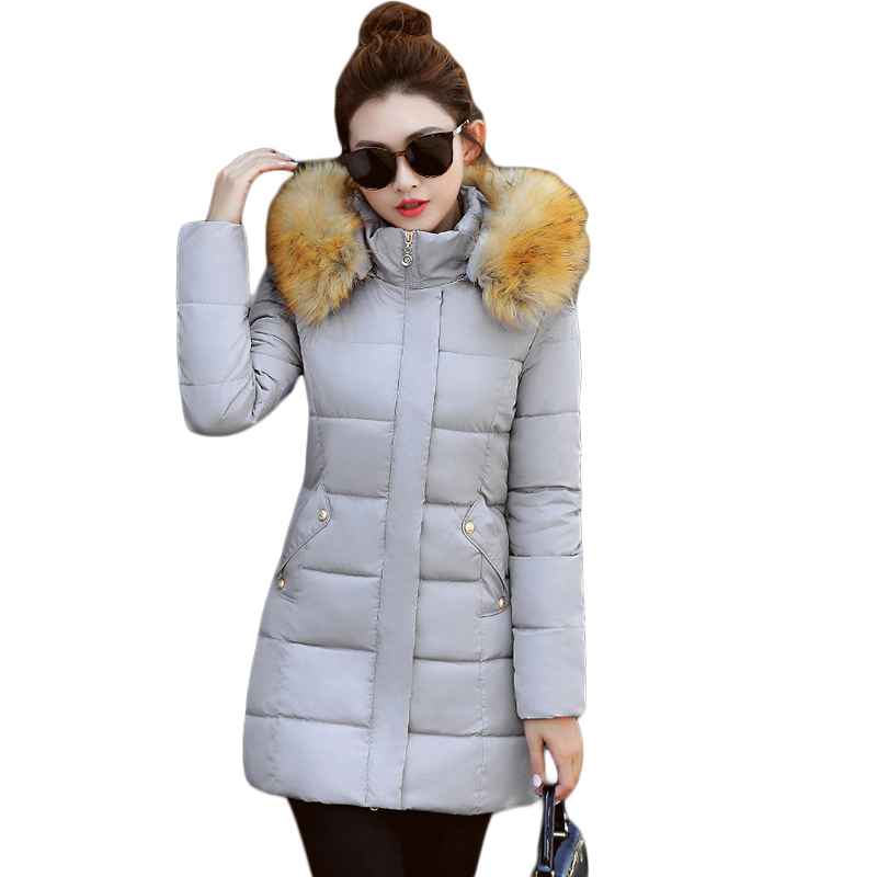 Snow Wear Wadded Jacket Female 2017 Autumn Winter Women Medium-long Slim Cotton-padded Jacket Outerwear Winter Coat Women CM1738 linenall women parkas loose medium long slanting lapel wadded jacket outerwear female plus size vintage cotton padded jacket ym