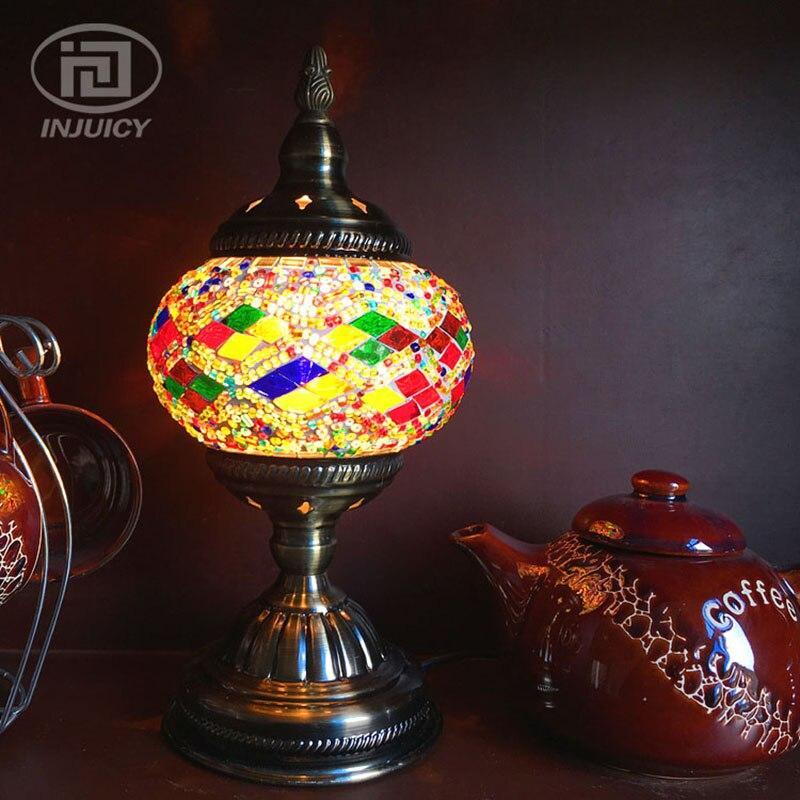 Mediterranean Retro Turkish Mosaic Glass Table Lamp Handmade Colorful Glass LED Desk Lamp Bedroom Bedside Study Bohemia Art Deco
