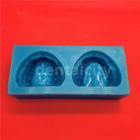 1set Silicone Blue Dental Plaster Model Mold Mould of Edentulous Jaw Complete Cavity Block with hole