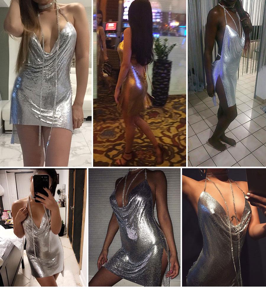 GACVGA 17 Sexy Diamond Halter Metal Party Dresses Gold Silver Summer Dress Vesitos Backless Sequins Women Dress 4