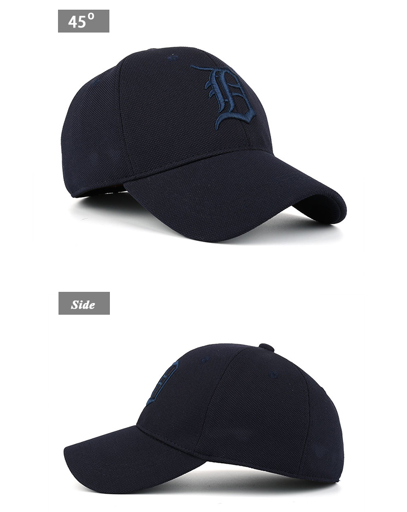 Embroidered Letter D and Baseball Fitted Baseball Cap - Front Angle and Side View Details