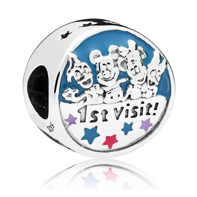 100% 925 Silver Bead 1st Visit Cartoon Land Openwork Charm Fit Original Pandora Bracelet Bangle Necklace Women DIY Jewelry Gift bead