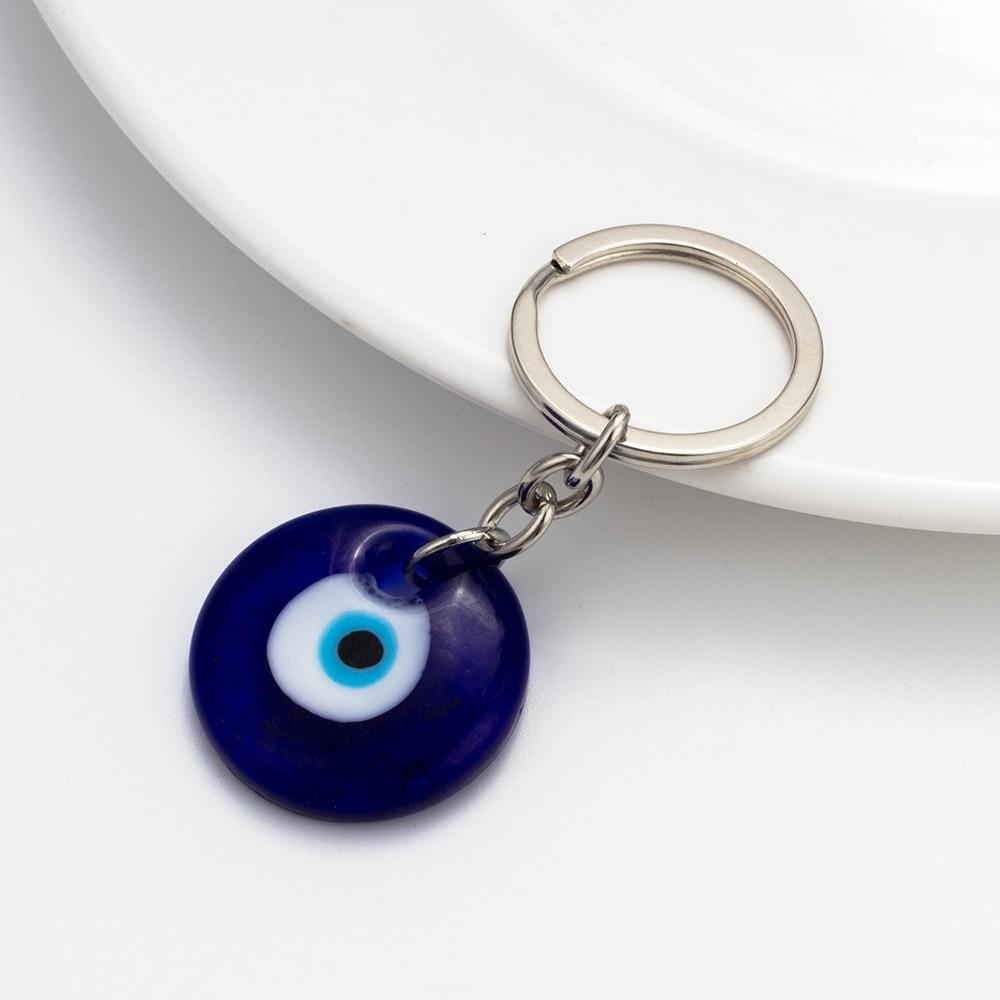Lucky Eye Glass Evil Eye Keychain 3cm Στρογγυλό Μπλε - Κοσμήματα μόδας - Φωτογραφία 4