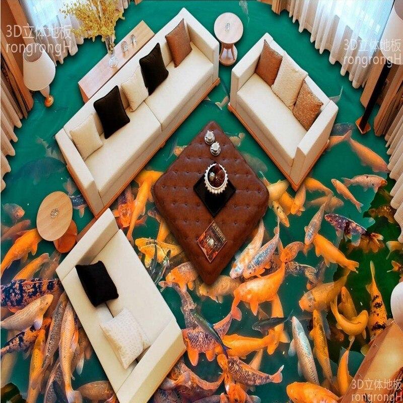 Free Shipping balcony bathroom flooring painting lotus pond carp floats self-adhesive PVC floor wallpaper mural 3d floor painting wallpaper 3d fish play pond jade carving floor pvc self adhesive wallpaper 3d flooring