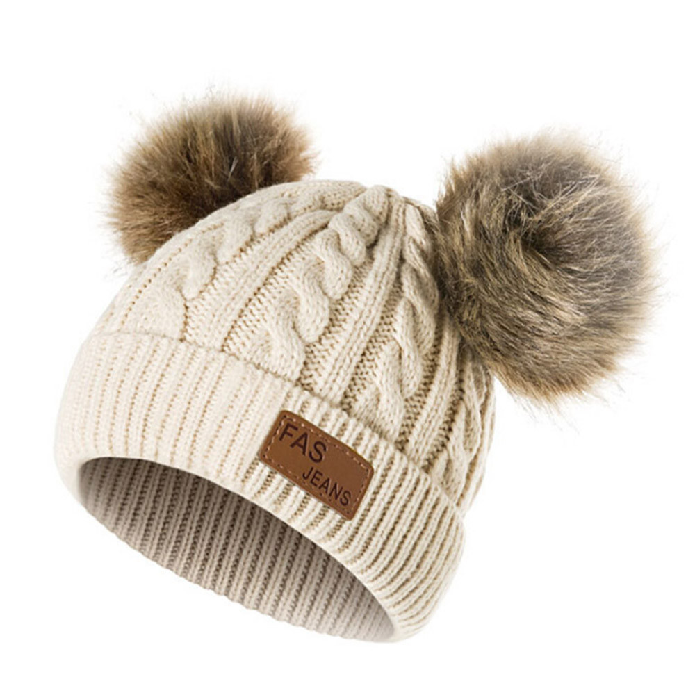 8eab9d78171 Detail Feedback Questions about pompom hat Baby Boys Girls Double Hair Ball  Hat Cute Children s Wool Hat Twist Wool Ball Baby Knitted Cap Elasticity  Kids  ...