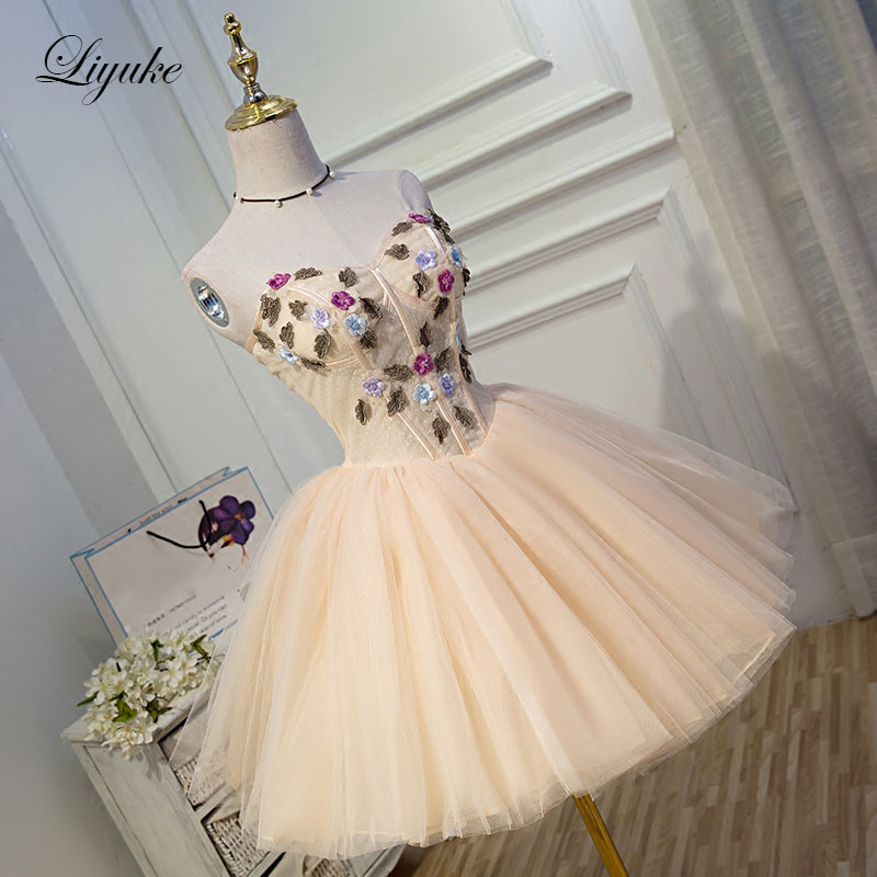 Liyuke Champagne   Cocktail     Dress   Elegant Strapless Satin With Tulle Fabrics Knee-Length Prom   Dress   For   Cocktail   Party